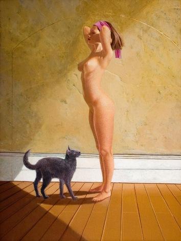 Nude with Cat 2006 63 x 48 cm