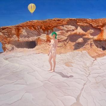 Girl in green turban 109 x 96 cms 2016 – acrylic on canvas