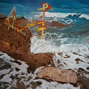 Shoreline incident 160 x 100 cms 2015 – acrylic on canvas